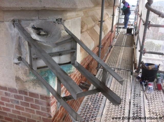 Unterkonstruktion der Wasserspeier (Foto: Baier)