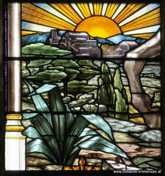 Rom und italienische Landschaft (Detail aus der Kreuzesvision Kaiser Konstantins im Mittelfenster des südlichen Querschiffs; Foto: Stöcher)