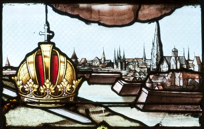 Wien (Detail aus dem rechten Fenster des nördlichen Querschiffs; Foto: Stöcher)