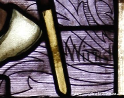 Signatur des Malers Johann Wirnstl (Detail aus dem rechten Fenster des südlichen Querschiffs; Foto: Stöcher)